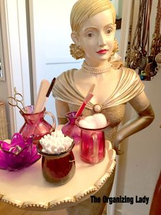 Cyndi Seidler decided to share some of her own decorative chachkies (trinkets) that provide organizing solutions in her own home. Organizing Solutions, Vanity Organization, Own Home, Gadgets, Bathrooms, Essentials, Cleaning, Stylish, Lady