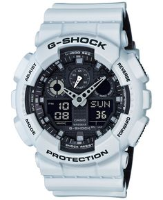 Go beyond being on time with this feature-rich white resin watch created with precision by G-Shock.   White resin strap   Rounded case, 51x55mm   Black dial with white stick indices, two hands, three
