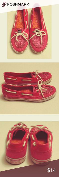 Pretty Pink Glitter Girl's  Sperry Topsiders Good Pre-Owned Condition. My daughter wore them twice. Sperry Shoes