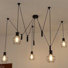 179.90$  Buy here - http://alicum.worldwells.pw/go.php?t=32264245473 - DIY Handmade Tiny Cages Fixtures 5pcs E27 Lamp Bulbs For Modern Pendant Lamps Adjustable Chandelier Ceiling lamp Free Shipping