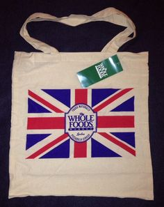 Whole Foods London Piccadilly Circus Union Jack Reusable Tote Bag UK New Cotton