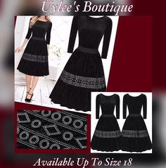 """Lovely embroidered pleated evening dress. Rounded neck line, knee length, made of polyester. Dress is black, has a zipper in back and available in sizes 4 - 18.    This item may also be purchased on our website www.UyleesBoutique.com in our """"Vintage Dresses"""" section.    This item ships within seven (7) days. 📦   Shop this product here: spree.to/a6te   Shop all of our products at http://spreesy.com/JewelsByScarlett      Pinterest selling powered by Spreesy.com"""