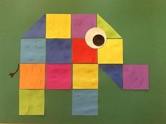 elmer in cubes, also nice in size with folding leaves for the window, Diy For Kids, Crafts For Kids, Elmer The Elephants, Tangram, Diy And Crafts, Arts And Crafts, Shape Crafts, Book Projects, Animal Crafts