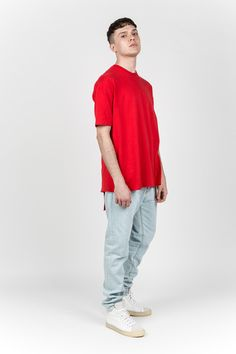 Y/PROJECT - RED Y BACK PANELED TEE