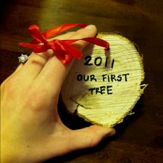 Cut the stump of your first christmas tree and hang it on your christmas tree every year after