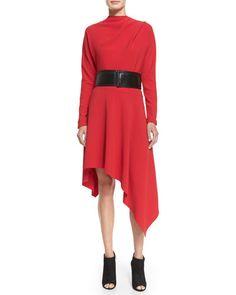 MARNI Asymmetric-Hem Cady Dress, Red. #marni #cloth #