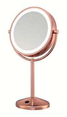 Conair LED Makeup Mirror - 1x & 10x magnification - Rose gold