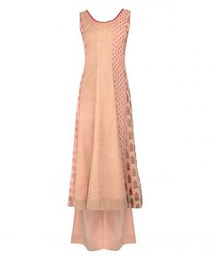 Printed Blush Peach Sleeveless Indian Suit