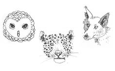 NATURAL-HISTORY-MUSEUM - Quick fine-liner drawings of some of my favourite exhibits at the Natural History Museum, London. Owl, Leopard and Fox.