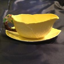 VERY RARE Vintage Yellow Carlton Ware Sauce Boat and Saucer - Apple Blossom