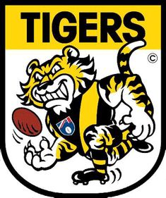 I think the new logo has potential but the tiger's body needs to be bigger/musclier and needs more snarl and anger. I really like the tiger used in the. Richmond Afl, Richmond Football Club, Tiger Poster, Tiger Logo, Cartoon Logo, Old Logo, Sports Pictures, Golden State Warriors, Cool Things To Buy