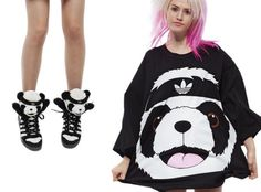 Adidas Originals by Jeremy Scott Fall/Winter 2011 Panda Sneakers & Sweatshirt #JeremyScott #panda #sneakers
