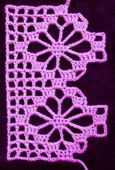 Easiest Crochet Frills Border Ever! Crochet Boarders, Crochet Edging Patterns, Vintage Crochet Patterns, Crochet Lace Edging, Crochet Motifs, Crochet Cross, Crochet Chart, Crochet Squares, Filet Crochet