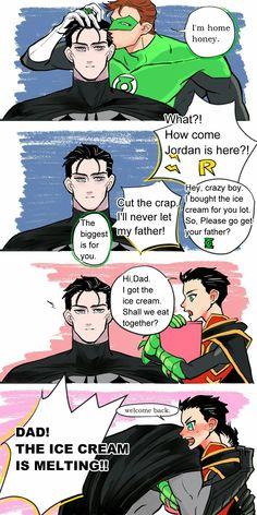 Bruce only cares about Dami,,,, maybe? Lol this is cute though c: Superman X Batman, Batman Robin, Marvel Dc Comics, Robin Comics, Robin Dc, Dorkly Comics, Dragon Rey, Dc Memes, Batman Family