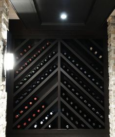 wine storage - could do this idea but with glass on both sides like in previous . wine storage - could do this idea but with glass on both sides like in previous inspiration photo - would make a big Wine Rack Design, Wine Cellar Design, Wine Rack Wall, Wine Wall, Wine Rack Shelf, Wine Cellar Racks, Wine Shelves, Wine Storage, Wine Bottle Storage Ideas
