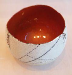 "SARAH PERKINS BOUND POUCH  Copper, enamel  3.5"" x 4"" x 4"""