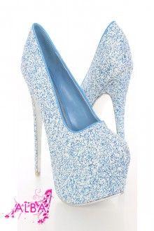 Blue Texture Platform Pump Heels