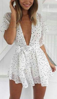 White deep neck polka dot romper dress - summer wear