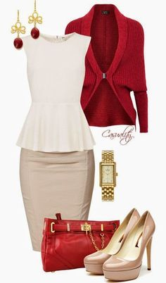 """""""White Peplum Top, Pencil Skirt, & Red Clutch"""" by casuality- feels like a good December work or church outfit! Komplette Outfits, Classy Outfits, Casual Outfits, Fashion Outfits, Womens Fashion, Fashion Trends, Fashion Ideas, Fashion Clothes, Petite Fashion"""