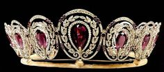 The Mystery Amethyst Tiara of Queen Alexandra ~ Princess of Denmark and Queen of Great Britain, wife of Edward VII (1901-19100. The tiara is deocrated with 5 hexagonal amethysts, 13 old European-cut diamonds weighing approximately 8.50 carats, 69 old European-cut diamonds weighing approximately 10.00 carats and numerous smaller old-mine and rose-cut diamonds weighing approximately 5.00 carats. It is mounted in silver and gold and 17 inches.