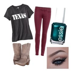 """Texas for my friend Johanna"" by cmakoff on Polyvore featuring Old Navy, 7 For All Mankind, Frye and Essie"