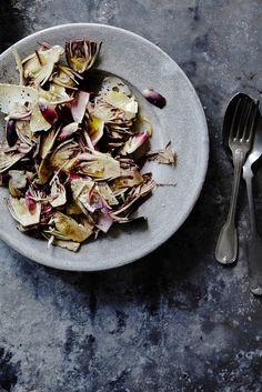 Roasted Endive Salad with Caramelized Shallot, Parmigiano Reggiano and Roasted Lemon Dressing