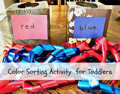 When my preschooler was just a bit younger, she confused the colors red and blue, black and white. I created a simple color sorting activity so she could practice with the colors at the same time to help clear up the confusion. (I wanted her to see blue next to red and black next to …
