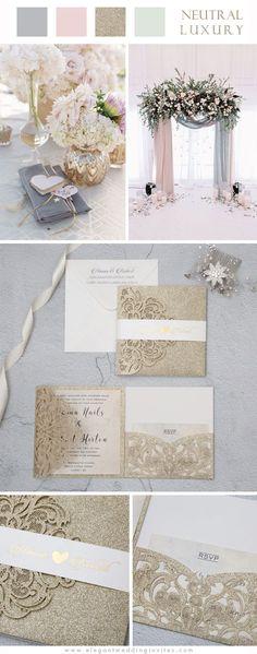 Luxury Champagne Gold Glitter Tri-fold Laser Cut Pocket Wedding Invites with Belly Band EWWS224