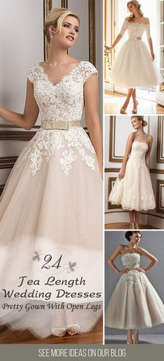 24 Gorgeous Tea Length Wedding Dresses ❤ More and more brides choose pretty gown with open legs. Owners of tea length bridal dresses look stylish, romantic and feminine. See more: http://www.weddingforward.com/tea-length-wedding-dresses/ #wedding #dresses #tealength