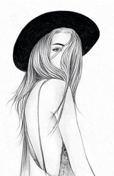 Imagem de girl, drawing, and art Tumblr Girl Drawing, Tumblr Drawings, Tumblr Art, Tumblr Girls, Girl Drawing Images, Tumblr Sketches, Outline Drawings, Pencil Art Drawings, Art Drawings Sketches