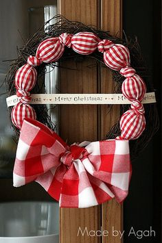 / All About Gingham Christmas Wreath Christmas Wreaths christmas Wreath Crafts, Diy Wreath, Diy Crafts, Fabric Wreath, Christmas Lights, Christmas Holidays, Christmas Ornaments, Thanksgiving Holiday, Plaid Christmas