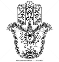 Vector hamsa hand drawn symbol - stock vector