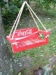 Recycled Wooden Coca Cola Crate Bird Swing OOAK. $32.00, via Etsy.