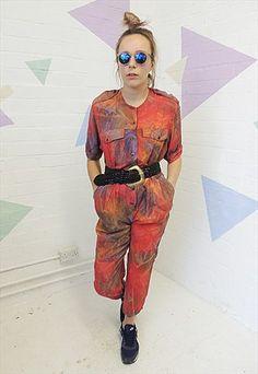 Vintage 80's Red Tie Dye Festival Jumpsuit