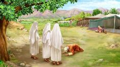Abraham's Celestial Visitors - Genesis 18 1 And the LORD appeared to him in the plains of Mamre: and he sat in the tent door in the heat of the day; 2 And he Abraham Y Sara, Story Of Abraham, Bible Pictures, Jesus Pictures, Genesis 18, Bible Coloring Pages, God Will Provide, Free Bible, Gods Plan