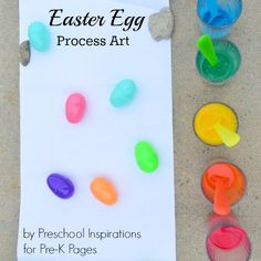 A fun Easter process art activity that uses plastic eggs and thinned tempera paint for ; for your preschool, pre-k, or kindergarten classroom. Process Art Preschool, Easter Activities For Preschool, Art Activities, Pre K Pages, Easter Specials, Drip Painting, Egg Art, Easter Ideas, Special Education