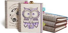 Personalized Owl wooden cover notebook A5 lined ruled pages. Refillable sketchbook on coil staples  One side of the A5 format sheets is lined, ruled for notes & blank other side for sketches. The pages holder mechanism appears like 2 coils, which easy unclench by hands. That allowing to add new sheets, making the sketchbook refillable. Also, there is a funny owl stickers kit - much usable tool to mark your notes. Cute Owl is carved through unpainted wooden cover. So, this unique notebook…