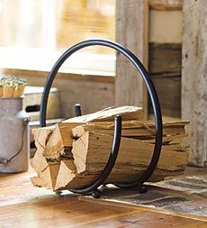 Graceful Spiral Log Rack has a compact design that's perfect by the hearth.