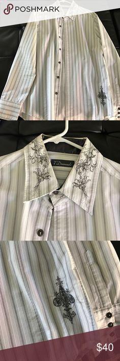 Men's dress shirt Like new!! Worn once for a wedding!! Men's button up dress shirt. Size Large! No stains, still looks brand new!! 7 Diamonds Shirts Dress Shirts