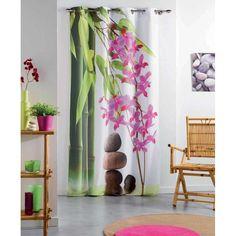 Disponible sur maisondulinge.fr Rideau Equilibre Zen Rose 140x240 cm