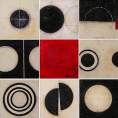 Nine Ways of looking at a Circle by Graceann Warn. Paper and encaustic on 3/4