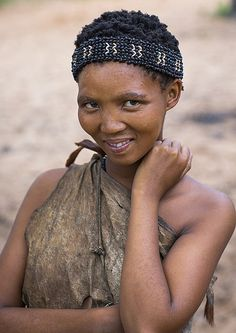 Bushman Woman With Beaded Traditional Headdress, Tsumkwe, Namibia  by Eric Lafforgue