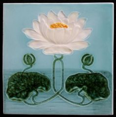 Georg Schmider - Art Nouveau tile with water lily - Catawiki
