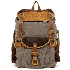 TSD Tapa Collection_ Vintage Distressed Canvas Leather Outdoor Travel Large Backpack >>> Quickly view this special product, click the image : Backpacking backpack Hiking Backpack, Travel Backpack, Camping And Hiking, Backpacking, Popular Backpacks, Carry On Size, Backpack For Teens, Hiking Equipment, Casual Bags