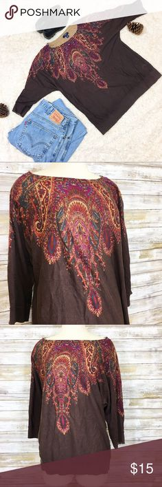 """Chaps Brown Boho Knit Top This shirt is cotton done right, it's woven in a way that's so soft and cozy! Brown patterned shirt with a cinched bottom hem. Size 1X 100% Cotton Brand: Chaps  Measurements (flat):  Armpit to armpit: 26.5"""" Waist: 21.5"""" Bottom hem: 21"""" Sleeve: 14.5"""" Length: 25""""  Condition : Pre-owned. Please examine all photos carefully. Chaps Tops Tees - Short Sleeve"""