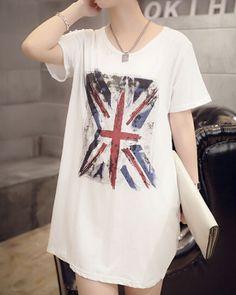British flag t shirt dress for women white long t shirt short sleeve
