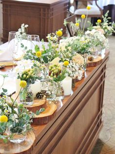 #VressetRose #Wedding #novarese#yellow #tablecoordinate#mainetable #natural #Flower #Bridal #ウエディング#ノバレーゼ#イエロー#ナチュラル # メインテーブル #テーブルコーディネート #野草風# ナチュラル# ブライダル#結婚式 Country Wedding Decorations, Flower Decorations, Floral Centerpieces, Flower Arrangements, Rustic Theme, Yellow Wedding, Table Flowers, Flower Images, Bridal Flowers