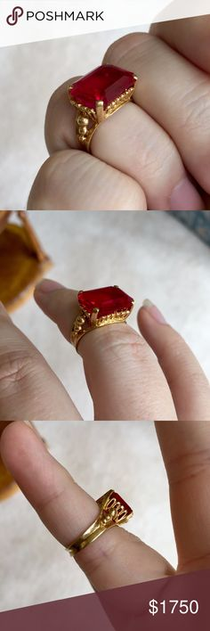 Vintage 18kt Yellow Gold 1920s 1930s Red Ruby Ring Amazing 1920s 1930s style lab created ruby ring set in 18kt Yellow gold setting  styled in the fashion of the 1920s or 1930s heyday for glitz and glam.and is a real show stopper piece.  I purchased this ring from an high end estate sale over 30 years ago It is real 18kt gold. The gemstone is a flawless lab ruby. The color is unique and clear.  This ring is a must for anyone with a love of the colors gold and red,  the 20s 30s fashion style…