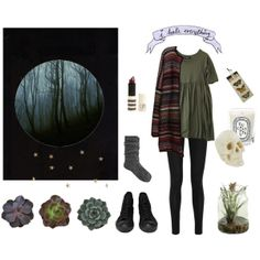 Violet Harmon Inspired Outfit- Floral dress, black leggings/tights, boots or oxfords, big sweater, minimal jewelry, cozy socks
