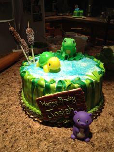 Pond Animals 1st Birthday Cake #2